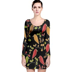 Flowers and birds  Long Sleeve Velvet Bodycon Dress