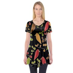 Flowers and birds  Short Sleeve Tunic