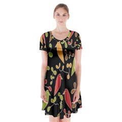 Flowers and birds  Short Sleeve V-neck Flare Dress