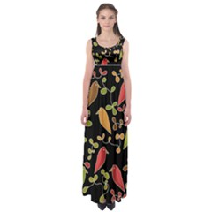 Flowers and birds  Empire Waist Maxi Dress