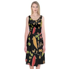 Flowers and birds  Midi Sleeveless Dress