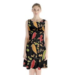 Flowers and birds  Sleeveless Chiffon Waist Tie Dress