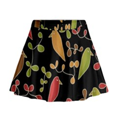 Flowers and birds  Mini Flare Skirt