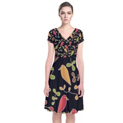 Flowers and birds  Short Sleeve Front Wrap Dress