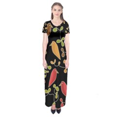 Flowers and birds  Short Sleeve Maxi Dress