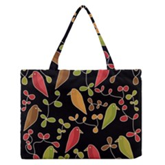 Flowers and birds  Medium Zipper Tote Bag