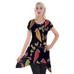 Flowers and birds  Short Sleeve Side Drop Tunic