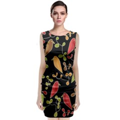 Flowers and birds  Sleeveless Velvet Midi Dress