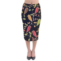Flowers and birds  Velvet Midi Pencil Skirt