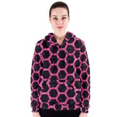 HXG2 BK-PK MARBLE Women s Zipper Hoodie