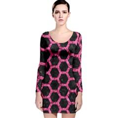 HXG2 BK-PK MARBLE Long Sleeve Velvet Bodycon Dress