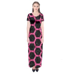 HXG2 BK-PK MARBLE Short Sleeve Maxi Dress