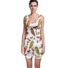 Birds and flowers 3 Sleeveless Bodycon Dress