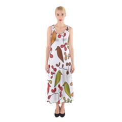 Birds and flowers 3 Sleeveless Maxi Dress