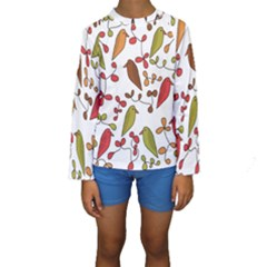 Birds and flowers 3 Kids  Long Sleeve Swimwear