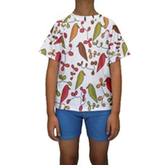 Birds and flowers 3 Kids  Short Sleeve Swimwear