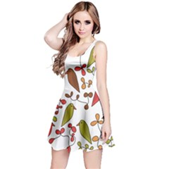 Birds and flowers 3 Reversible Sleeveless Dress