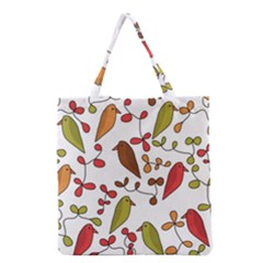 Birds and flowers 3 Grocery Tote Bag