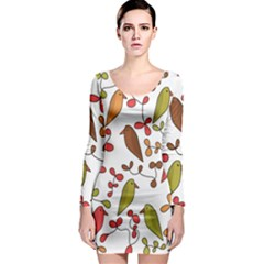 Birds and flowers 3 Long Sleeve Bodycon Dress