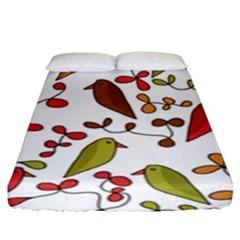 Birds and flowers 3 Fitted Sheet (King Size)