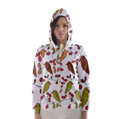 Birds and flowers 3 Hooded Wind Breaker (Women)