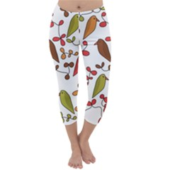Birds and flowers 3 Capri Winter Leggings