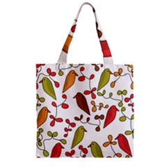 Birds and flowers 3 Zipper Grocery Tote Bag