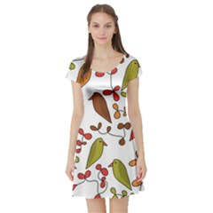 Birds and flowers 3 Short Sleeve Skater Dress