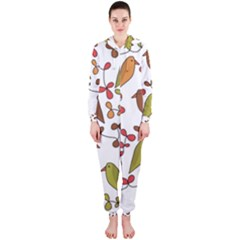 Birds and flowers 3 Hooded Jumpsuit (Ladies)