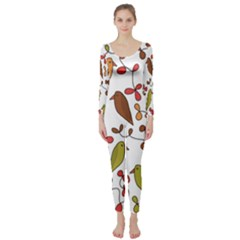 Birds and flowers 3 Long Sleeve Catsuit