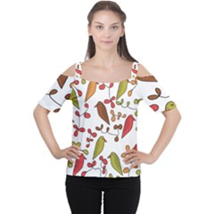 Birds and flowers 3 Women s Cutout Shoulder Tee