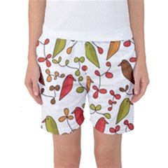 Birds and flowers 3 Women s Basketball Shorts