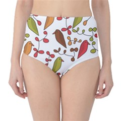 Birds and flowers 3 High-Waist Bikini Bottoms