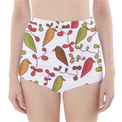Birds and flowers 3 High-Waisted Bikini Bottoms