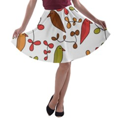 Birds and flowers 3 A-line Skater Skirt
