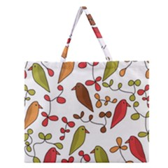 Birds and flowers 3 Zipper Large Tote Bag