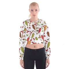 Birds and flowers 3 Women s Cropped Sweatshirt