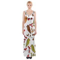 Birds and flowers 3 Maxi Thigh Split Dress