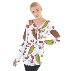 Birds and flowers 3 Women s Tie Up Tee