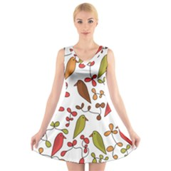 Birds and flowers 3 V-Neck Sleeveless Skater Dress
