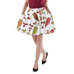 Birds and flowers 3 A-Line Pocket Skirt