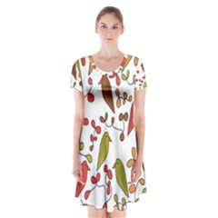 Birds and flowers 3 Short Sleeve V-neck Flare Dress