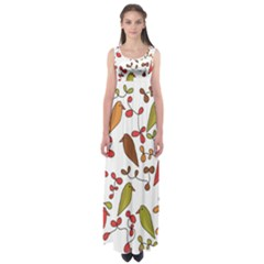 Birds and flowers 3 Empire Waist Maxi Dress