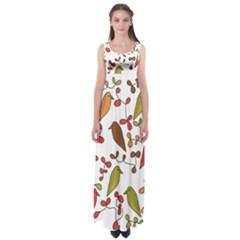 Birds and flowers 3 Empire Waist Maxi Dress