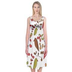 Birds and flowers 3 Midi Sleeveless Dress