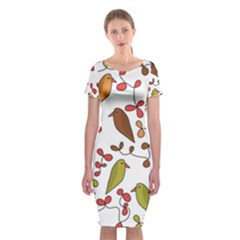 Birds and flowers 3 Classic Short Sleeve Midi Dress