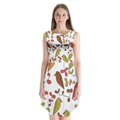 Birds and flowers 3 Sleeveless Chiffon Dress