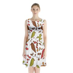 Birds and flowers 3 Sleeveless Chiffon Waist Tie Dress