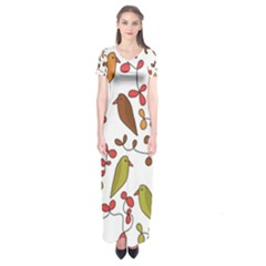 Birds and flowers 3 Short Sleeve Maxi Dress