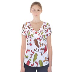 Birds and flowers 3 Short Sleeve Front Detail Top